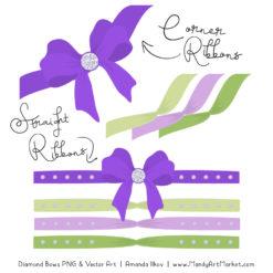 Purple & Lime Diamond Bow Clipart