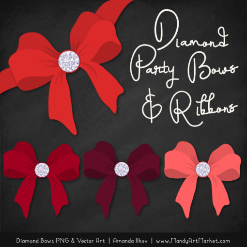 Red Diamond Bow Clipart