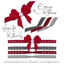 Red & Pewter Diamond Bow Clipart