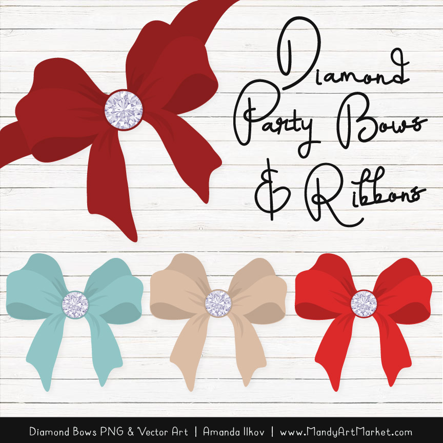 Red & Robin Diamond Bow Clipart