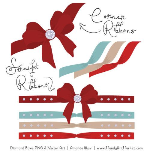 Red & Robin Diamond Bow Clipart