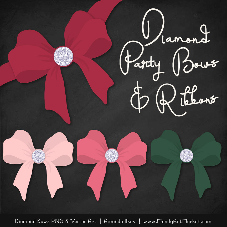Rose Garden Diamond Bow Clipart