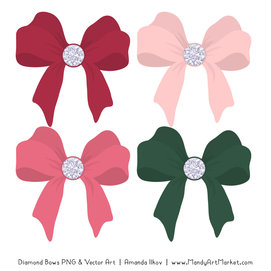 Rose Garden Diamond Bow Clipart
