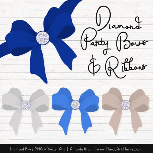 Royal Blue Diamond Bow Clipart