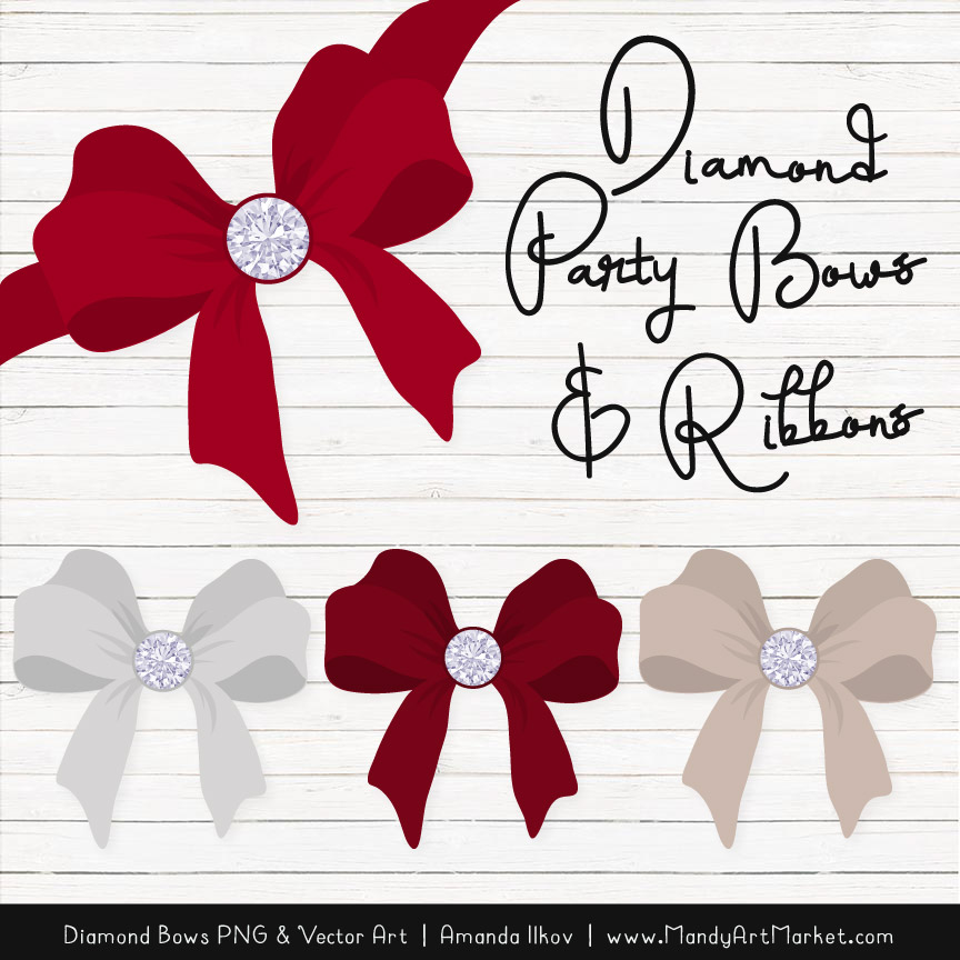 Ruby Diamond Bow Clipart