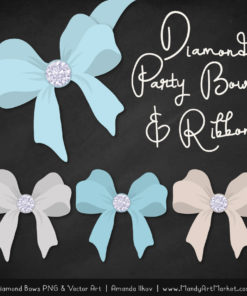 Soft Blue Diamond Bow Clipart
