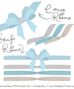 Soft Blue Diamond Bow Clipart