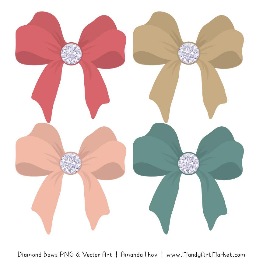 Soft Christmas Diamond Bow Clipart