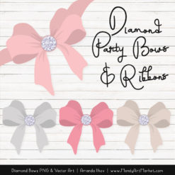 Soft Pink Diamond Bow Clipart