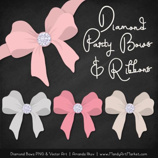 Soft Pink Diamond Bow Clipart