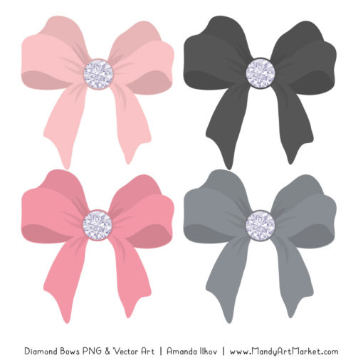 Soft Pink & Pewter Diamond Bow Clipart