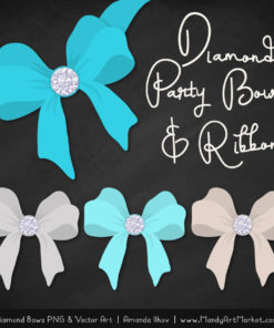 Tropical Blue Diamond Bow Clipart