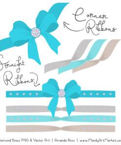 Tropical Blue Diamond Bow Clipart