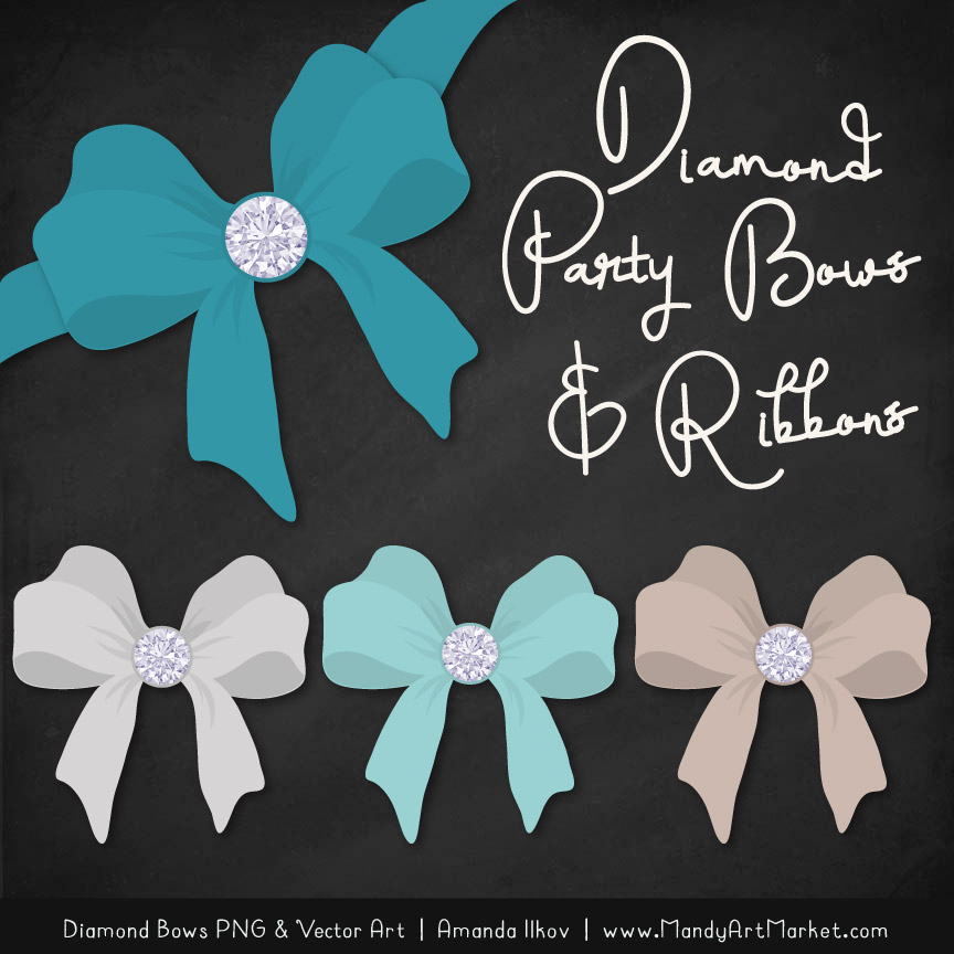 Vintage Blue Diamond Bow Clipart
