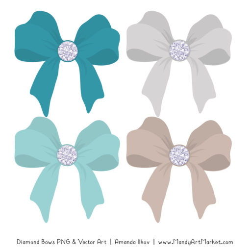 Vintage Blue Diamond Bow Clipart