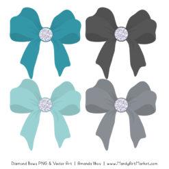 Vintage Blue & Pewter Diamond Bow Clipart