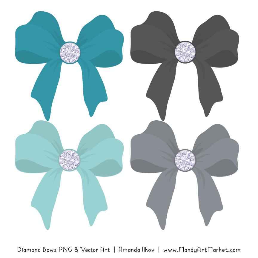 Vintage Blue & Pewter Diamond Bow Clipart