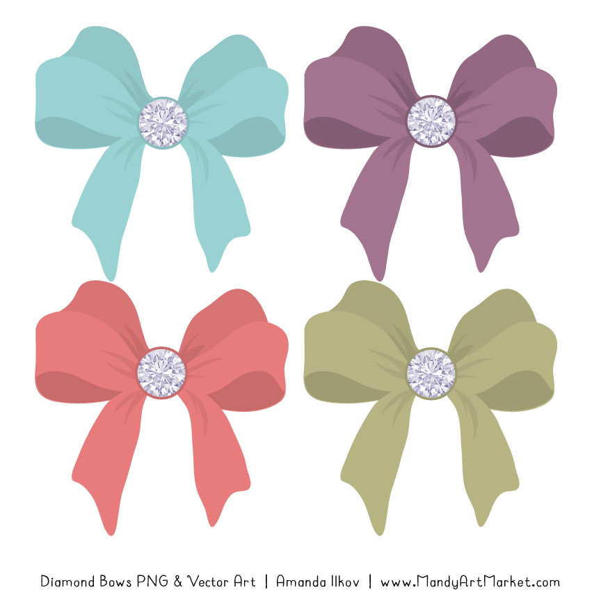 Vintage Diamond Bow Clipart