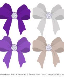 Violet Diamond Bow Clipart