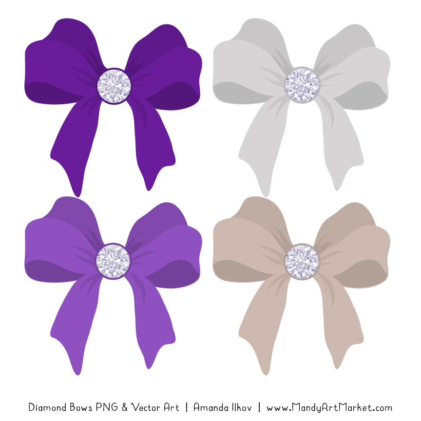 Violet Diamond Bow Clipart