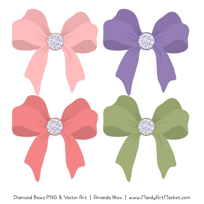 Wildflowers Diamond Bow Clipart
