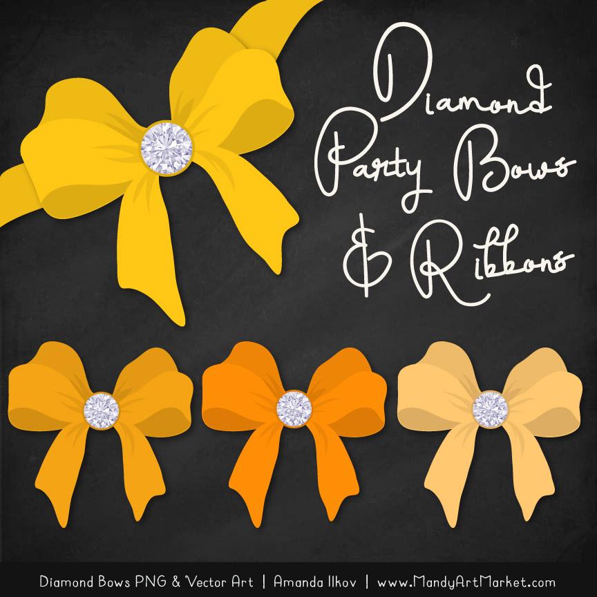 Yellow Diamond Bow Clipart