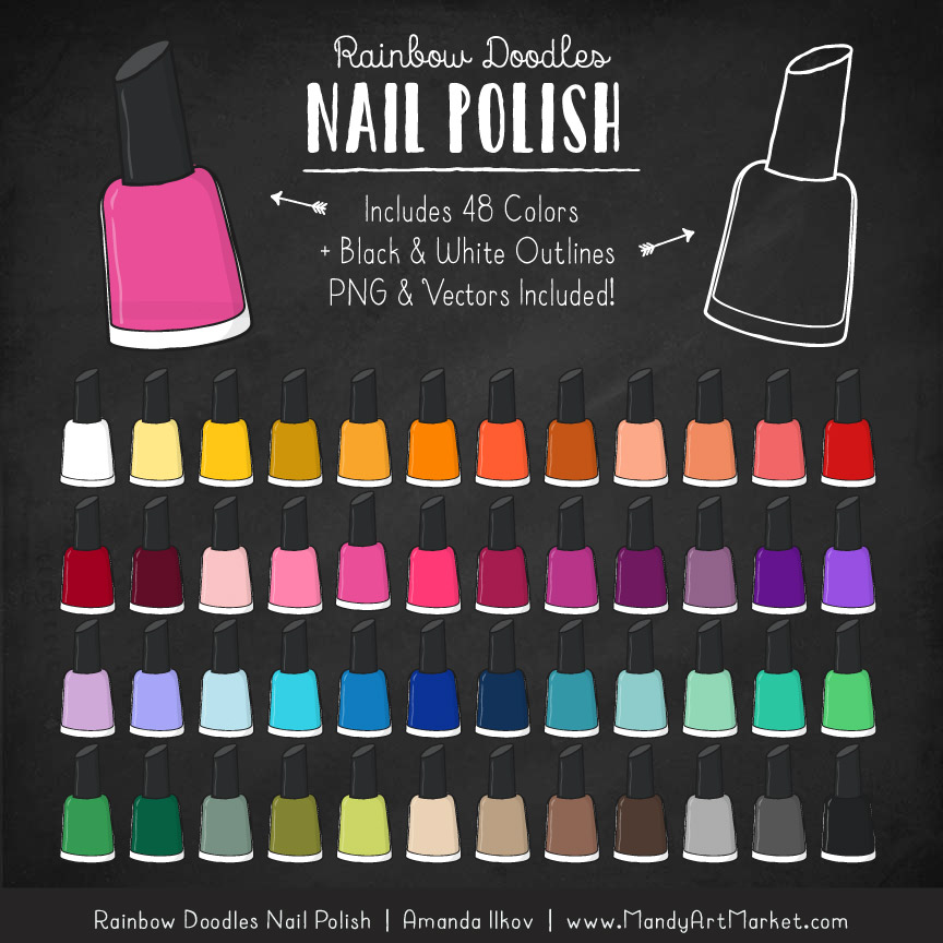 Rainbow Nail Polish Clipart