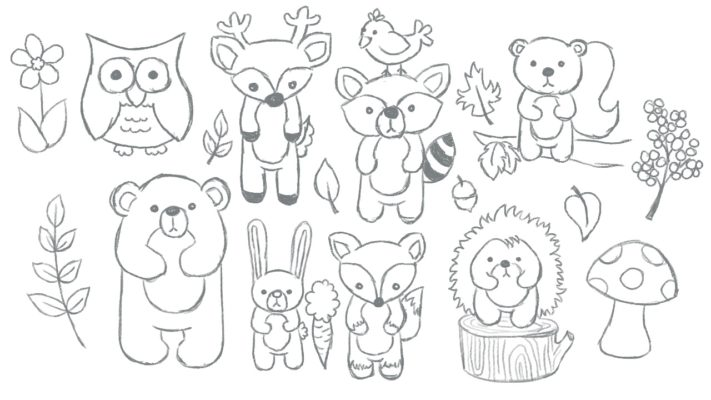 Woodland Animals Sketch