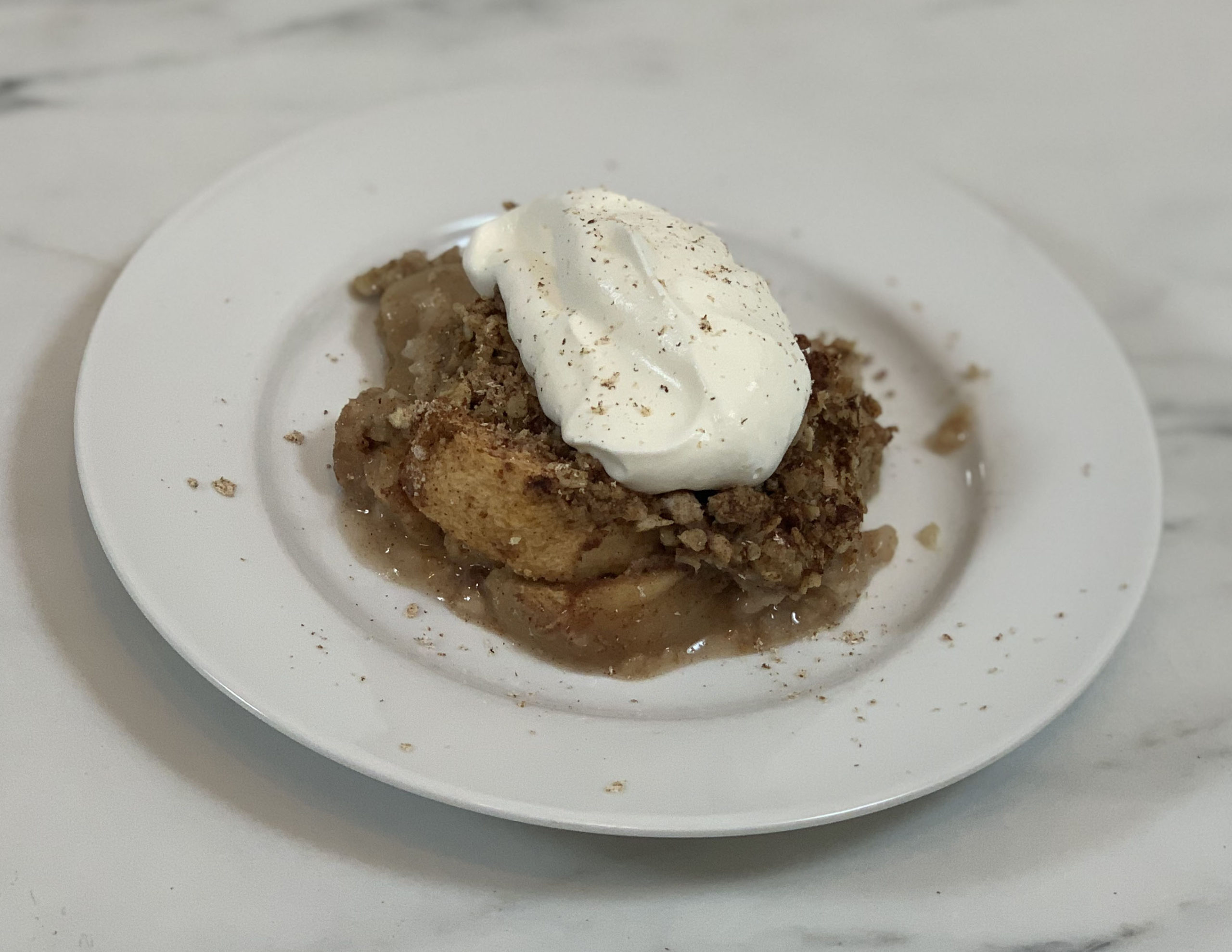 Healthy Apple Crisp with Whipped Cream
