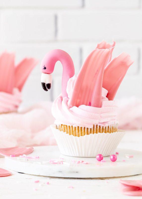 Emmas Soft Pink Flamingo Cupcakes
