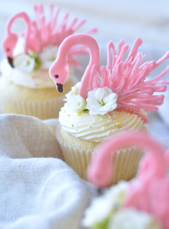 Pink Flamingo Cupcakes Made with White Chocolate