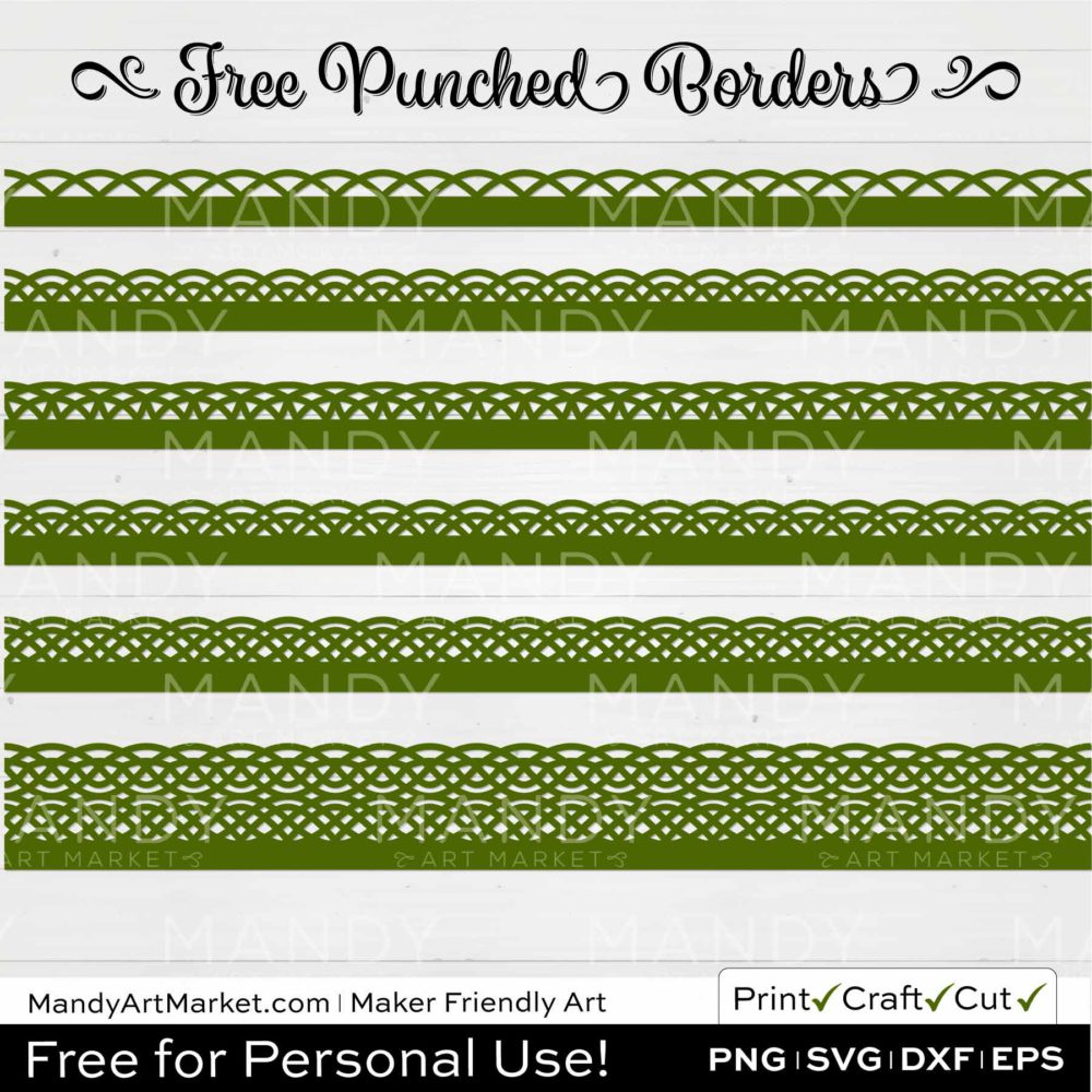 Moss Green Punched Border Braids Edge Graphics on White Background