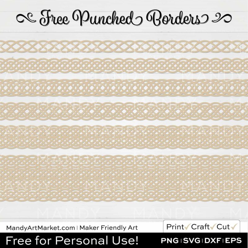 Almond Beige Punched Border Braids Graphics on White Background