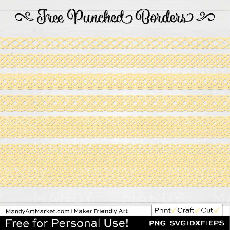 Butter Yellow Punched Border Braids Graphics on White Background