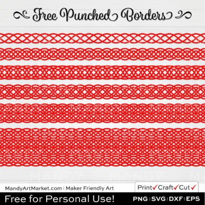 Cherry Red Punched Border Braids Graphics on White Background