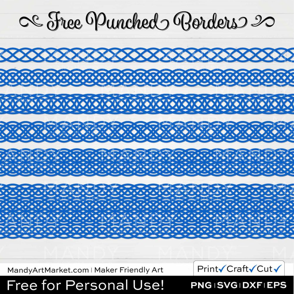 Cobalt Blue Punched Border Braids Graphics on White Background