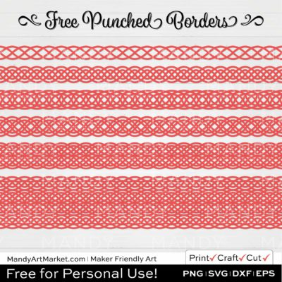 Coral Pink Punched Border Braids Graphics on White Background
