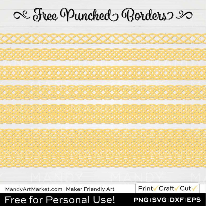 Daffodil Yellow Punched Border Braids Graphics on White Background