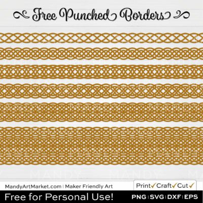 Fawn Yellow Punched Border Braids Graphics on White Background