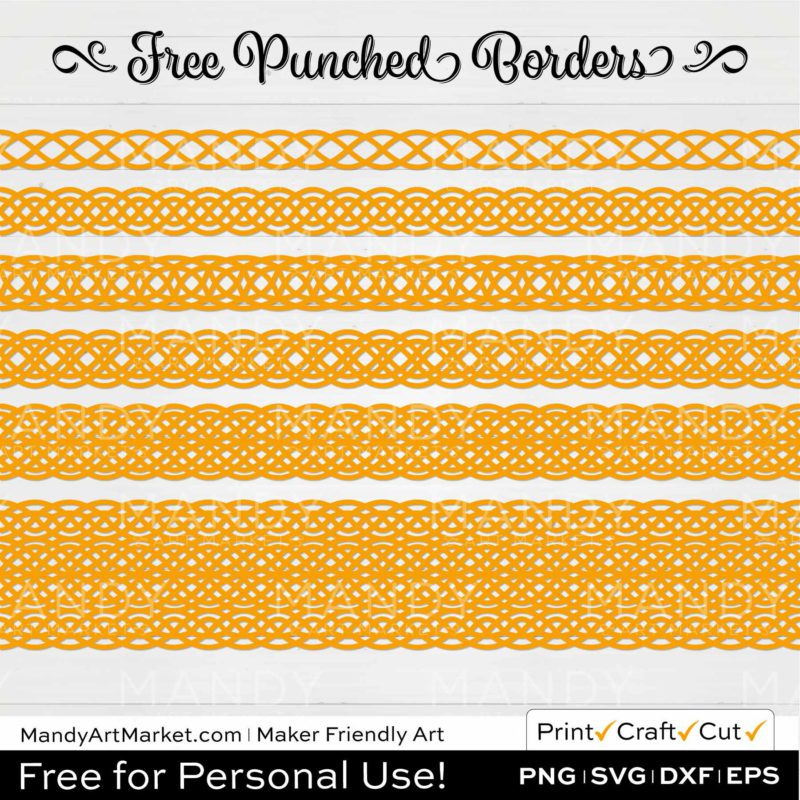 Honey Yellow Punched Border Braids Graphics on White Background
