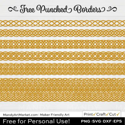 Mustard Yellow Punched Border Braids Graphics on White Background