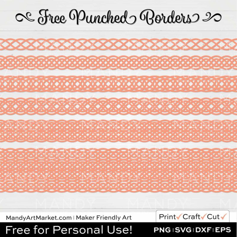 Peach Orange Punched Border Braids Graphics on White Background
