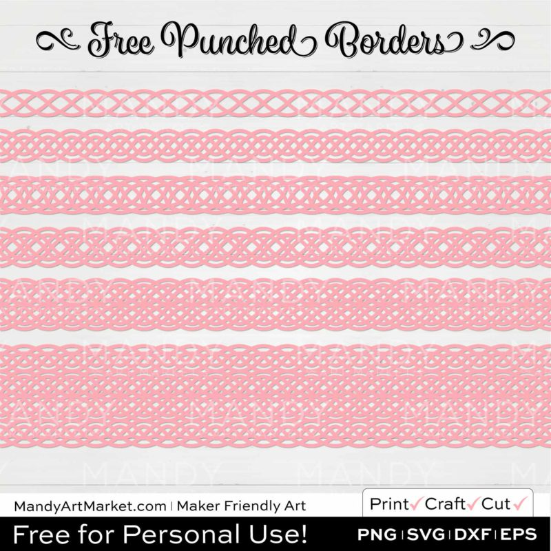 Peony Pink Punched Border Braids Graphics on White Background