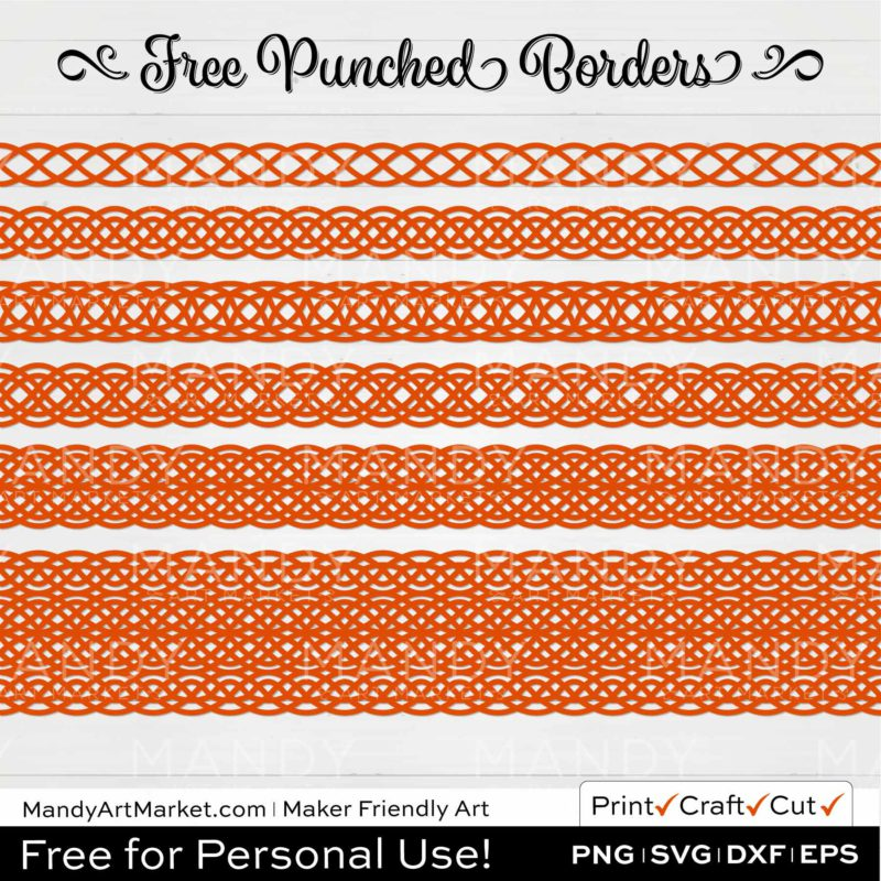 Persimmon Orange Punched Border Braids Graphics on White Background