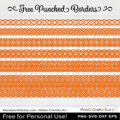 Pumpkin Orange Punched Border Braids Graphics on White Background