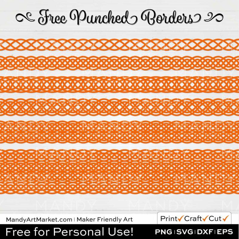 Pumpkin Orange Punched Border Braids Graphics on White Background