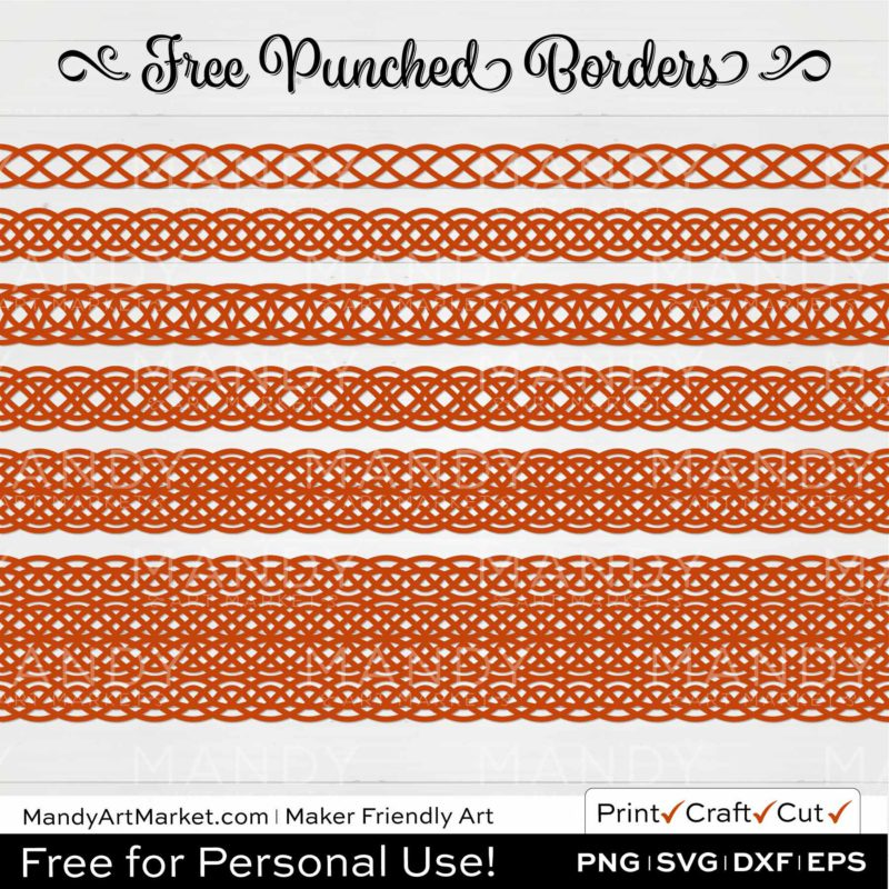 Rust Orange Punched Border Braids Graphics on White Background