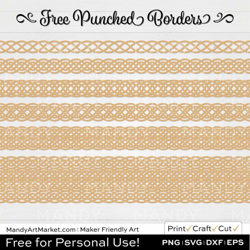 Straw Yellow Punched Border Braids Graphics on White Background