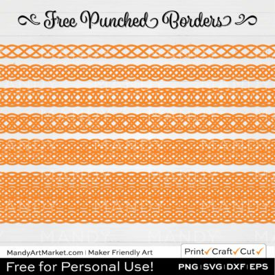 Tangerine Orange Punched Border Braids Graphics on White Background
