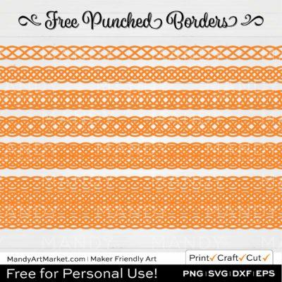 Tangerine Orange Punched Border Braids Graphics on White Background